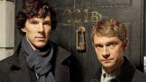Benedict Cumberbatch as Holmes and MArtin Freeman as Watson