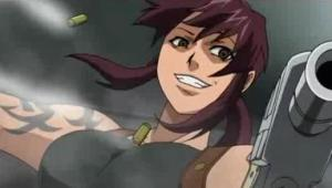 Revy in action in the anime Black Lagoon