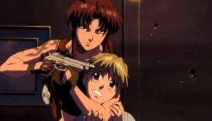 Black Lagoon's Revy taking a hostage