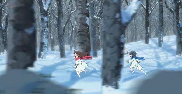 Wolf Children Snow Chase