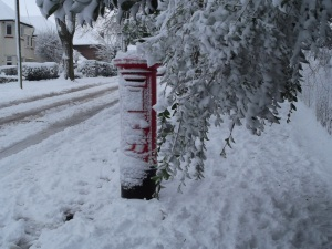 Snow Covered Royal Mail Post Box