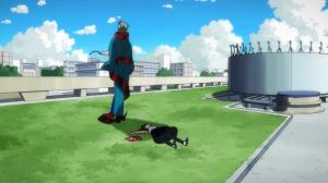 Gatchaman Crowds Hajime On Top of School