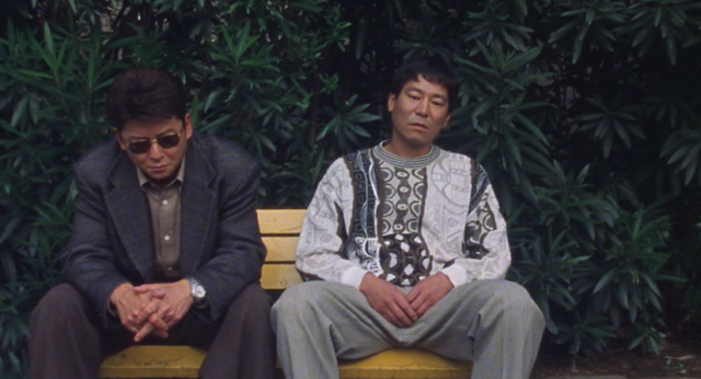Eyes of the Spider Nijima (Aikawa) and Iwamatsu (Dankan) Have a Heart to Heart