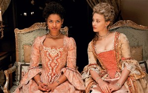 Belle (Mbatha-Raw) and Elizabeth (Gadon) in Belle
