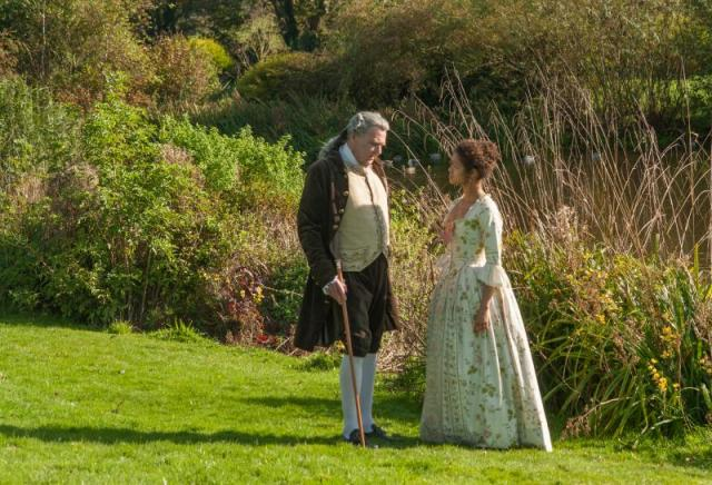 Belle (Mbatha-Raw) and Lord Mansfield (Wilkinson) in Belle
