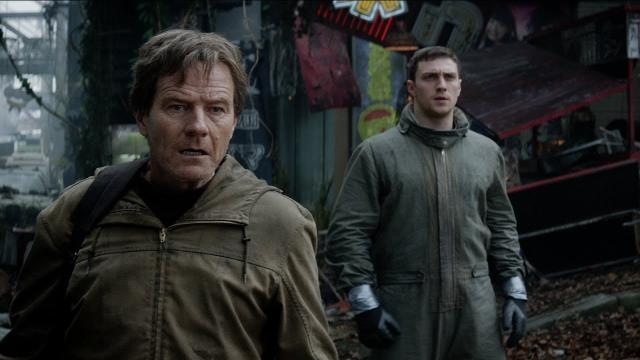 Godzilla Joe Brody (Cranston) and Ford Brody (Taylor-Johnson) in Janjira