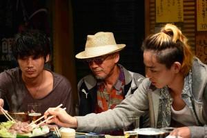 The Light Shines Only There Takuji (Suda) and Sato (Ayano) with Boss Matsumoto (Hino)
